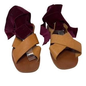 ZARA   Leather Velvet Tie Lace Up Sandals Boho